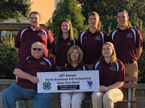 Pictured are (back row, from left) Ian Black, Amanda Hicks, Dakota Dershem and Kyle Schafer; (front row, from left) Rodney Pennock (coach), Susie Green (coach) and Miriam Cook. (Photo courtesy of the North American Invitational 4-H Dairy Quiz Contest.)