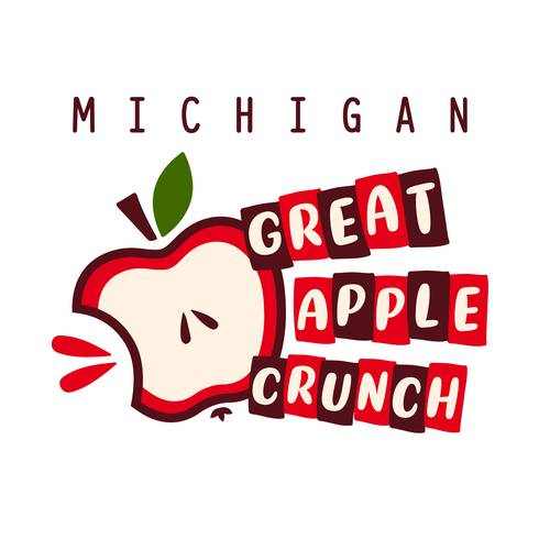 The Michigan Apple Crunch Logo is a cartoon-style image of a red apple with a juicy bite taken out of it next to the words