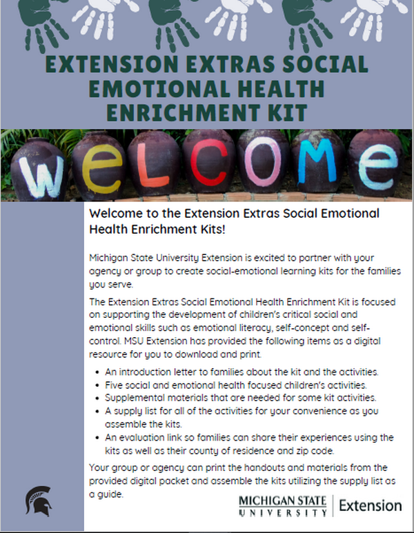 Thumbnail of the Extension Extras Social Emotional Health Enrichment Kit document.