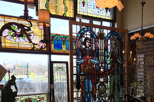 Stained glass at Materials Unlimited, an antique and restoration shop in Ypsilanti, MI. Photo by Lucy Schroeder.