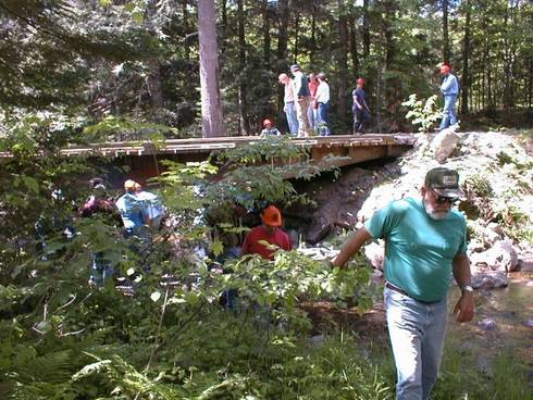 Training participants inspecting a permitted stream crossing as part of a SFE field day in Baraga County. Photo credit: Michael Schira l MSU Extension