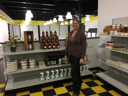 Co-owner Erin Caudell with some of Local Grocer's merchandise