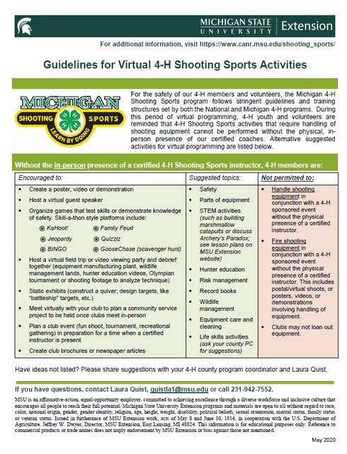 Thumbnail of Guidelines for Virtual 4-H Shooting Sports Activities document.