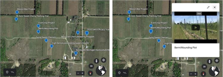 Google map images of the Northwest Michigan Horticulture Research Center