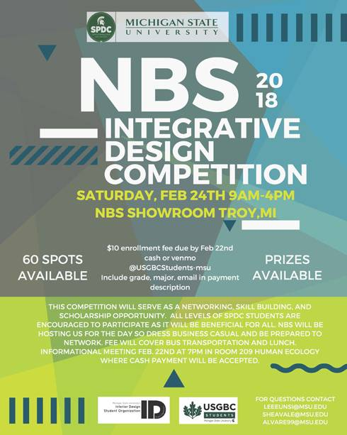 Image of the 2018 NBS Integrative Design Competition flyer, which includes details about the event.