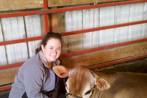 Nicole Widmar and her cow, Miss Pixie.