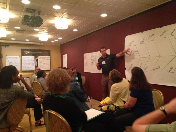 Andy Northrop, Tourism and Leadership Educator leading workshop attendees through a series of facilitation tools they can use to help drive action. (Photo by Cynthia Messer, University of Minnesota Extension).