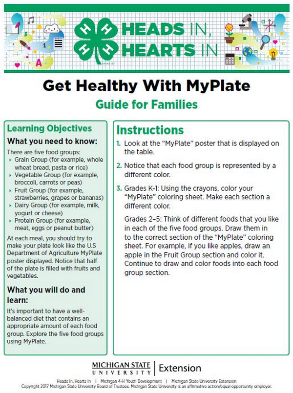 Get Healthy With MyPlate cover page.