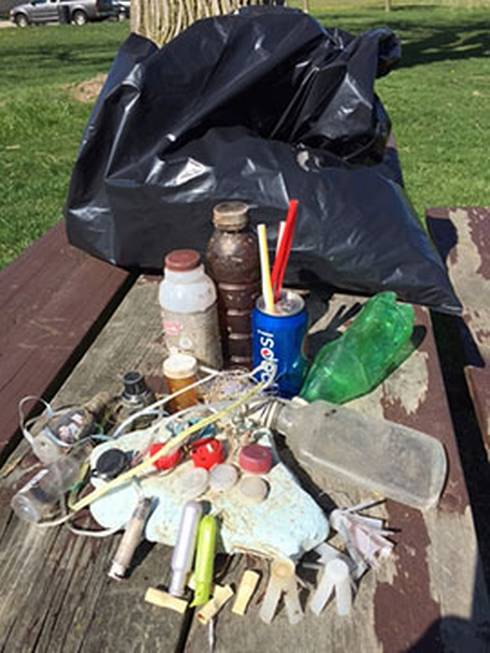 A sampling of some of the more common items collected on the shoreline of the Detroit River during the 2016 annual cleanup. Participating in a trash cleanup is just one way to make a difference. Photo: Mary Bohling | Michigan Sea Grant