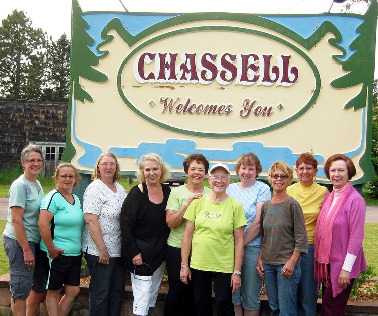 Master Gardener Phyllis Johnson (middle) and the community volunteers she coordinates for the Chassell Beautification Project. Photo: Nick Evert.