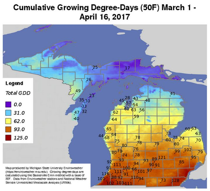 Enviroweather's map showing cumulative growing degree-days.