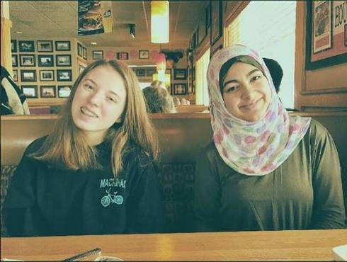Ganna Omar (right) with one of the Houghton Keweenaw Girl Up vice presidents. Photo: Ganna Omar.