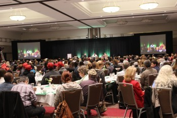 Summit attendees listening to the morning keynote featuring Betti Wiggins and Barbara Norman.