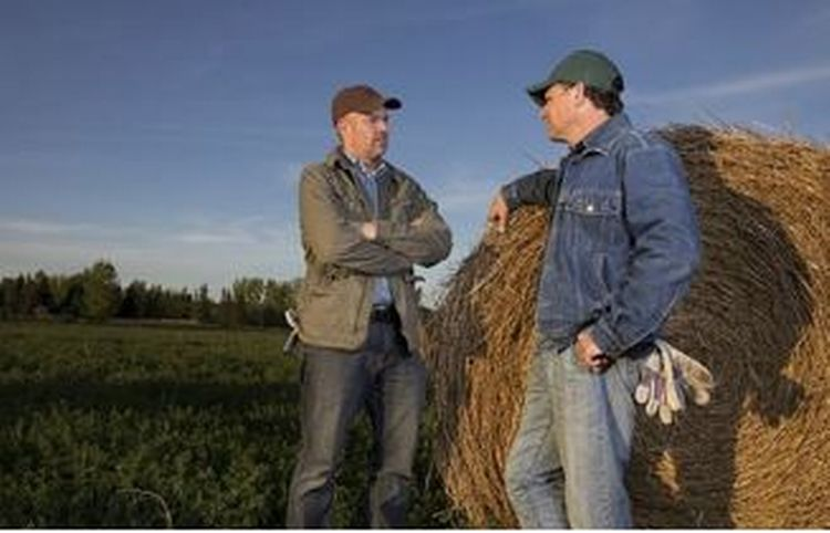 Two men standing near a bail of hay.