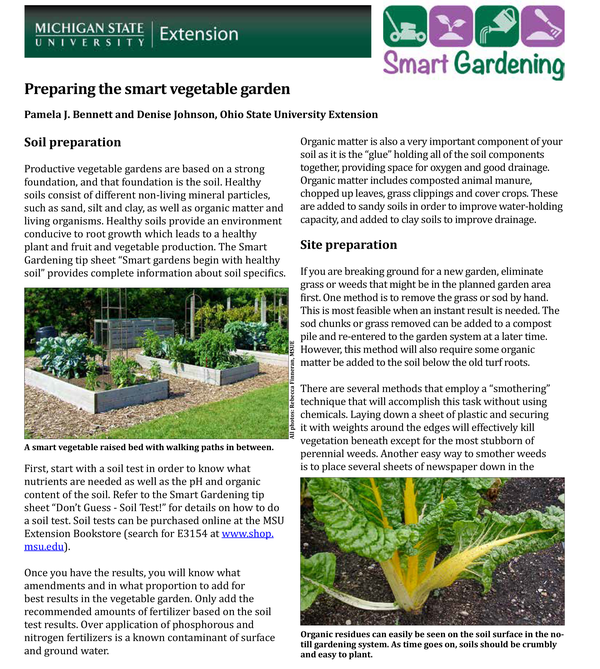 Preparing the smart vegetable garden - MSU Extension