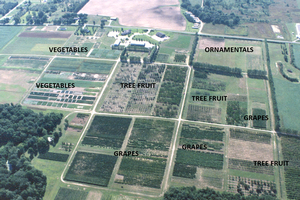 Aerial view of the Southwest Michigan Research and Extension Center.