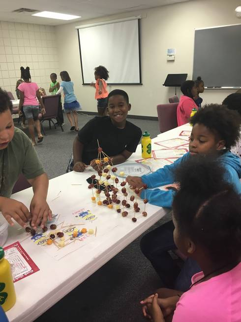 Youth in Genesee County build a cheese and fruit tower in 4-H Healthy Habits UDIM Summer Feeding Program.