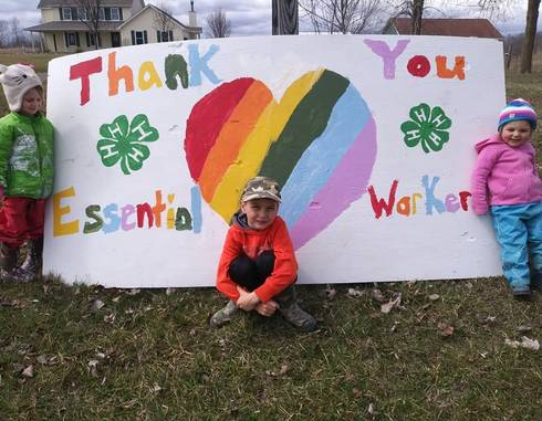 The Sebations, a 4-H family in St. Clair County, re-purposed a fair billboard thanking our essential workers. This is just one example of how Michigan 4-H'ers are lending their hands to larger service during this unprecedented time.