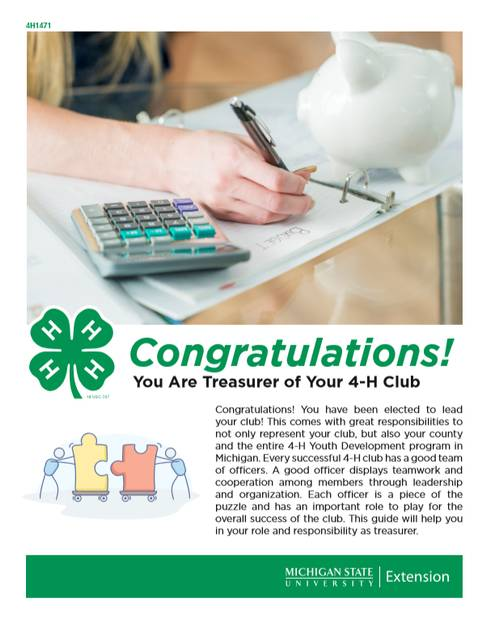 The first page of the document for 4-H Treasurers