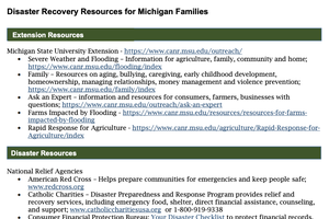 Disaster Recovery Resources for Michigan Families