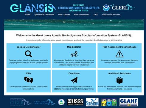 Screenshot shows the home page of the website, featuring a tile layout that links to previously featured tools like the Species List Generator and the Map Explorer, along with the recently debuted Risk Assessment Clearinghouse.