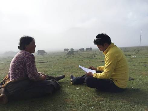 Interviewers on the Tibetan plateau.