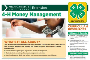 4-H Money Management snapshot sheet cover