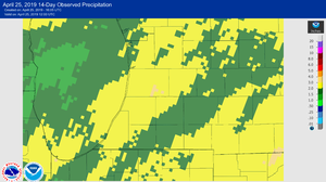 The 14-day observed precipitation map for Southwest Michigan as of April 25, 2019.