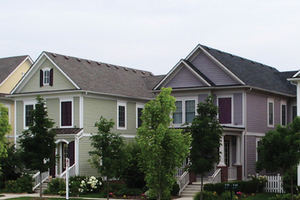A row of houses at the Cherry Hill development in Michigan