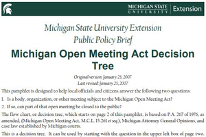 Michigan Open Meeting Act Decision Tree cover