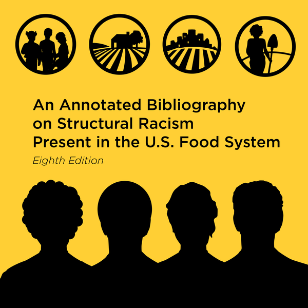 Square graphic includes silhouettes of people's heads and illustrations representing different parts of the food system. Black text on the yellow background reads,