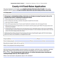 This is an image of the County 4-H Fund-Raiser Application.