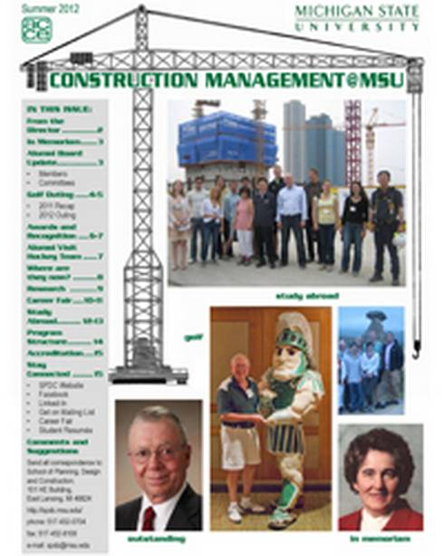 Front cover of the Construction Management @ MSU newsletter.