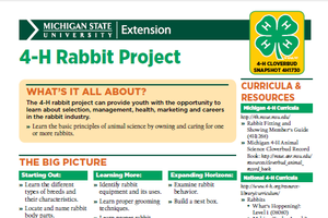 Michigan 4-H Cloverbud Snapshot Sheet: 4-H Rabbit Project (4H1730)
