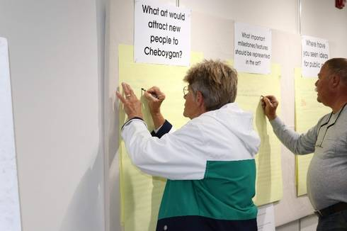 Community members provide feedback during a public art charrette in Cheboygan. | Photos by Lindsey Gardner