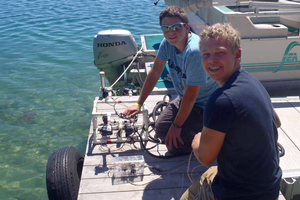 Youth getting ready to test their ROV.