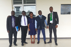 BHEARD scholars after successfully defending their dissertations (L-R Francis Appiah, Caleb Yeboah, Linda Coffie, Razak Abdul Salam and Jonah Zibul Ziyaaba)