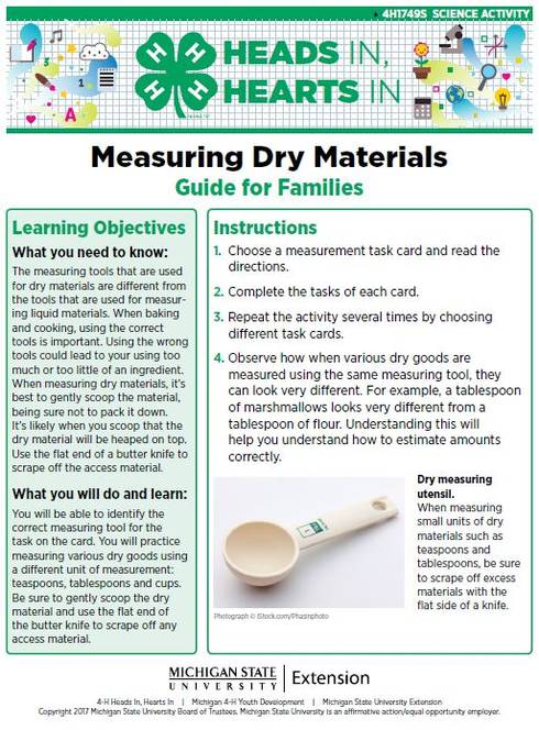 Measuring Dry Materials cover page.