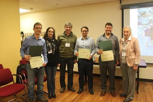 Faculty members Dr. Veiga-Lopez, Dr. Juan Steibel, and Dr. Gretchen Hill pose with winners of the Graduate Research Forum