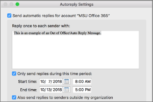 Setting Out of Office Replies in Outlook for Mac