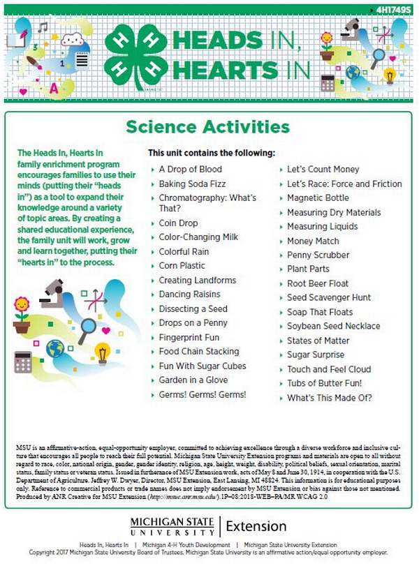 Heads In Hearts In Science Activities cover page.