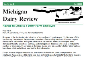 Michigan Dairy Review: Having to Dismiss a Dairy Farm Employee