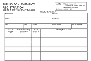 This is an image of the 4-H Spring Achievements registration form.