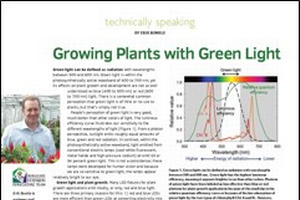 Growing plants with green light