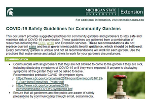 COVID-19 Safety Guidelines for Community Gardens