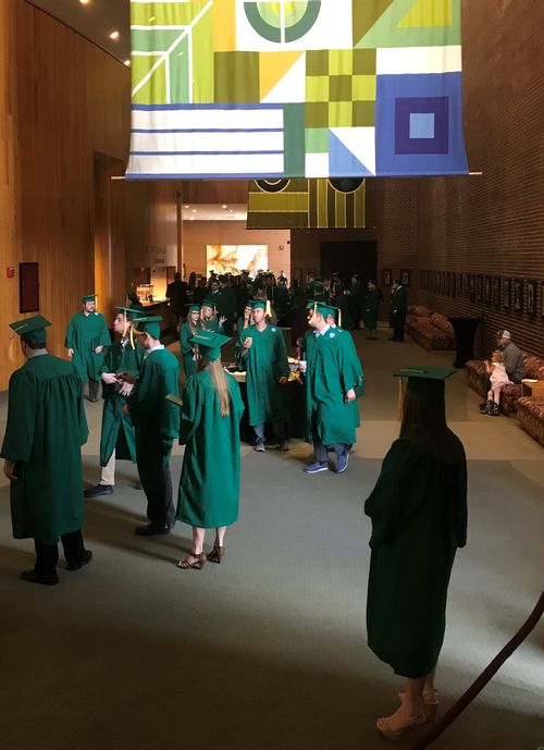 Students pictured in caps and gowns: MSU Institute of Technology students graduated on March 31, 2019.