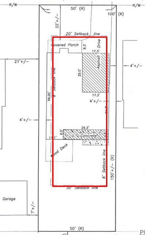 Figure 1: The home addition proposed in this plan requires a dimensional variance from the side yard setback. There are no unique characteristics of this lot or of the land and the design could be changed to meet the setback. Technically, this variance request should be denied.