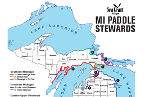 Map shows the 12 established Michigan water trails.