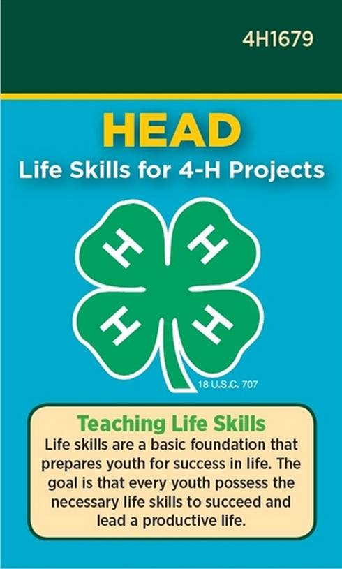 Photo of cover of 4-H Head Life Skills Pocket Card.