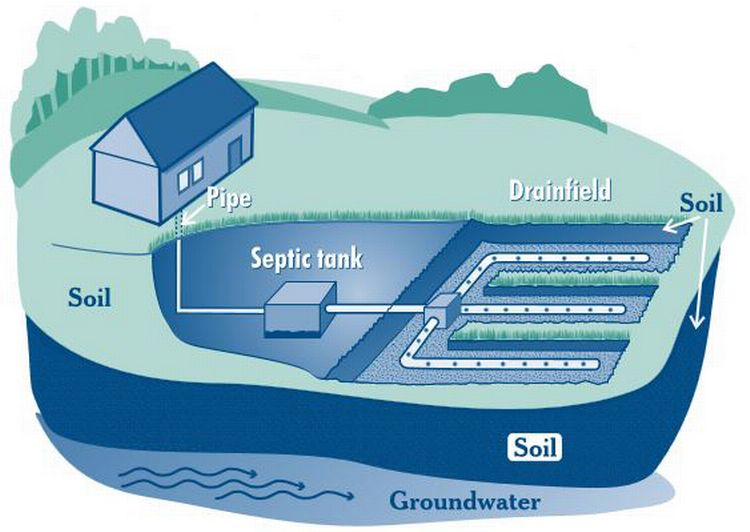 The illustration shows the design of a typical home septic system. l MSU Extension